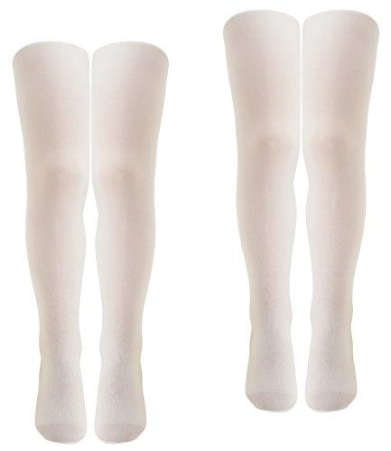 Ewers 2er Pack Mädchenfeinstrumpfhosen Sparpack Feinstrumpfhosen Markenstrumpfhosen für Kinder (EW-96010-S17-MA2-901-901-170/176) in Weiß-Weiß, Größe 170/176 inkl. EveryKid-Fashionguide