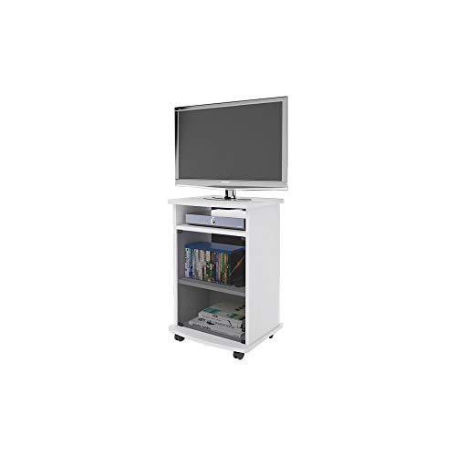 Carrello Porta TV Mobile Color Bianco con Vetrina Cm 47x40xh 73