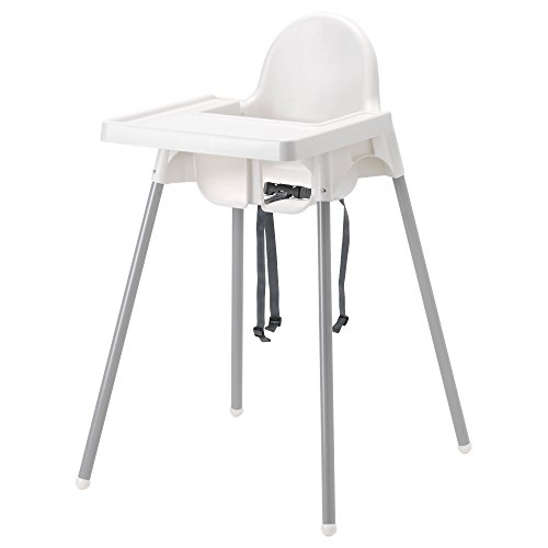 Ikea Antilop Highchair with Tray,safety Belt, White, Silver Color and Antilop Highchair White by IKEA