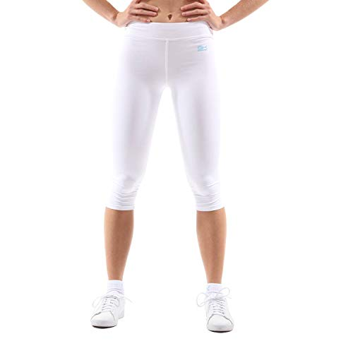 Sportkind Mädchen & Damen Tennis/Fitness/Sport 3/4 Leggings, weiss, Gr. XL Lycra Capri Leggings