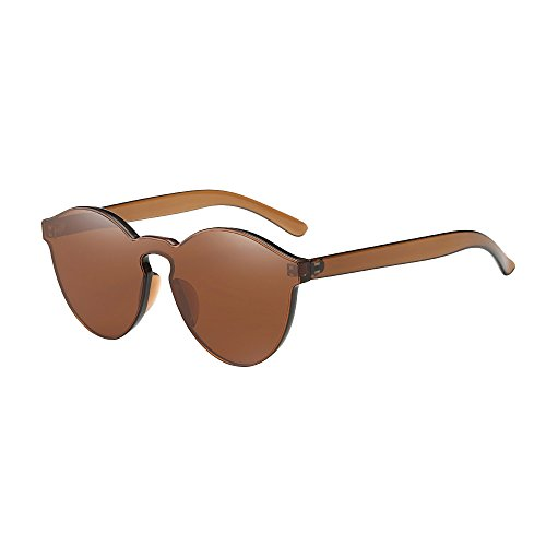 BOLANQ Nützlich Sonnenbrille, Damenmode Cat Eye Shades Sonnenbrillen Integrierte UV-Bonbonfarbene Gläser(Kaffee)