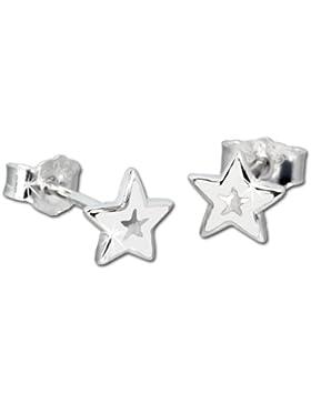 Tee-Wee Kinder Ohrring weißer Stern Ohrstecker 925er Silber Kinderohrstecker Kinderschmuck SDO200W