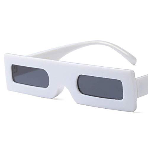Lisa旗舰店 Europäische und amerikanische Trendstars mit der gleichen stilvollen Persönlichkeit Kleine Box Square Sonnenbrille,White
