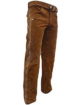 SHAMZEE Trachten lederhose lang inklusive Gürtel aus Echtleder in COGNIC farbe größe 46 - 62