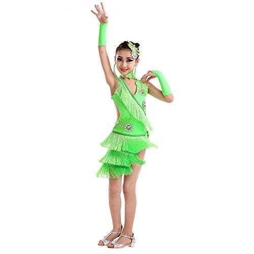 Zhhlinyuan Children Mädchen Latein Dance Kleid Ballroom Party Wettbewerb Kleid - Fashion Pailletten Quasten Irregular Tanzkleid