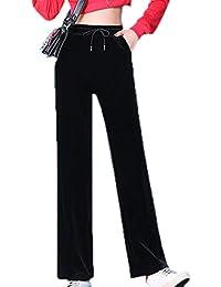 bc0c93c77d Pantalones de Cintura Alta para Mujer Pantalones de Terciopelo Sueltos  Rectos de Verano