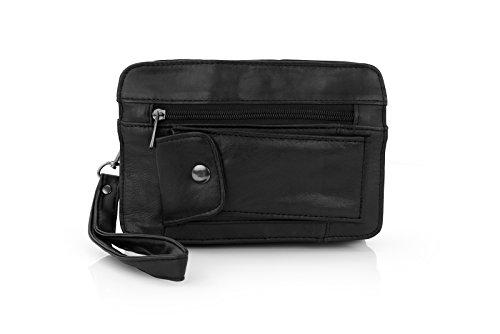 Preisvergleich Produktbild ECHTLEDER Herrentasche Gelenktasche Umhängetasche Tasche schwarz 09139 Maße: ca. 22x14x8 cm