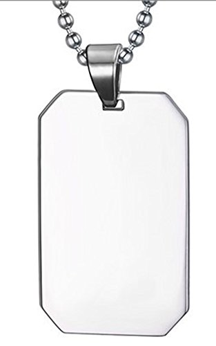 SaySure - Men's 316L Stainless Steel Dog Tag Pendant Necklace