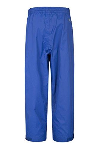 Mountain Warehouse Pakka wasserdichte Kinderhose Überhose Regenhose leicht packbar Camping Outdoor unisex jungen mädchen Blau 116 (5-6 Jahre)