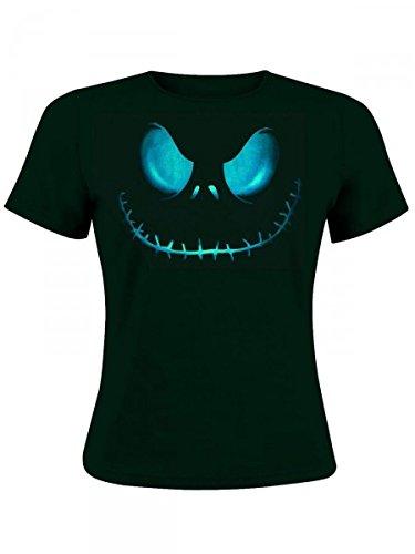 Nightmare Before Christmas - T-shirt per ragazza con motivo faccia di Jack Skeletron - Licenza ufficiale - Girocollo - Nero - M