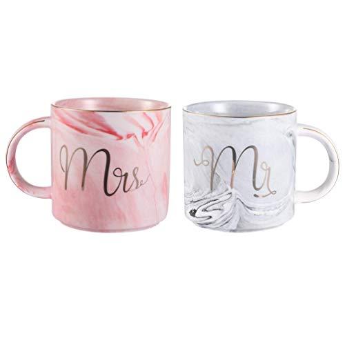Uarter Mr und Mrs Tassen Keramik Kaffeetassen Marbling mit goldenen Mustern, perfekt für Kaffee, Tee und Wasser, 400 ml, 2 Stücke(Decke und die Löffel dabei sind nicht)