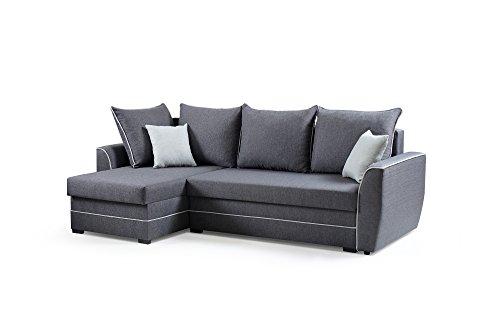 Ecksofa Sofa Eckcouch Couch mit Schlaffunktion und Bettkasten Ottomane L-Form Schlafsofa Bettsofa Polstergarnitur - ROXY (Ecksofa Links, Dunkelgrau)