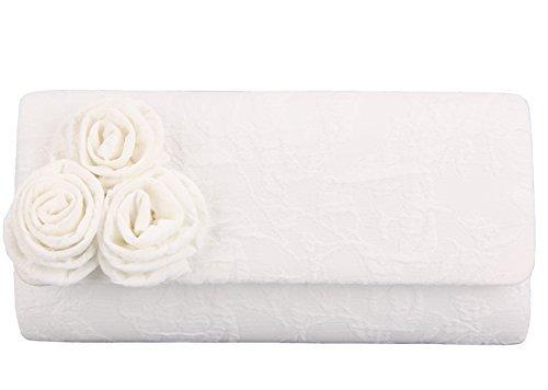 Grace Angel Damen Hochzeit Brauttasche Abendtasche mit Rosetten GA16122 -