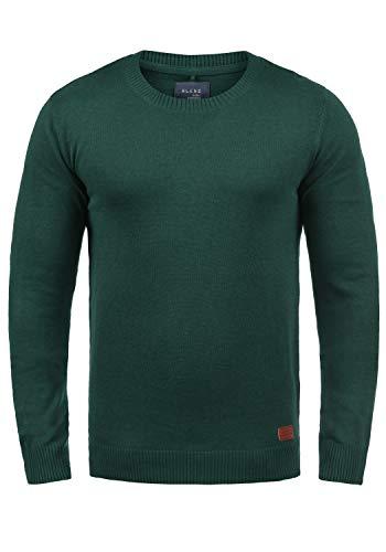 Blend Lars Herren Strickpullover Feinstrick Pullover Mit Rundhals Und Melierung, Größe:M, Farbe:Pine Green (77023)