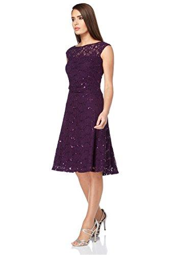 Roman Originals Damen Spitze Fit and Flare Kleid Lila - Purpur - Größe 44