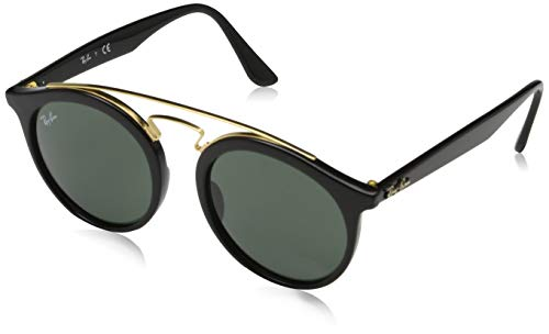 Rayban Unisex Sonnenbrille Model: 4256, Mehrfarbig (Gestell: schwarz-Gold, Gläser: dunkelgrün 601/71), Medium (Herstellergröße: 49)