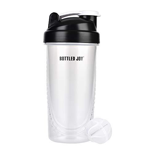 Bottled joy, borracce da 800 ml, shaker, da palestra, da palestra, per l'acqua, per la palestra, per l'acqua, per lo sport, come shaker per proteine, borracce da palestra e da uomo, trasparente, m