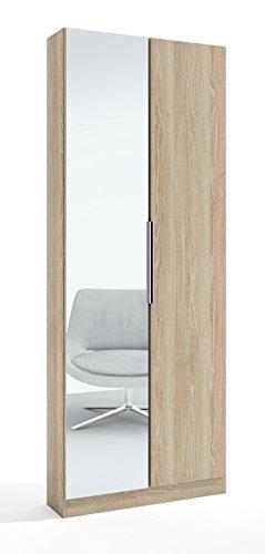 Armario Zapatero Alto con Espejo 2 Puertas en Color Sable, Efecto Madera, con baldas y Varillas en el Interior 70x20x180 cm