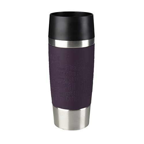 Emsa Isolierbecher Mobil genießen 360 ml Quick Press Verschluss Travel Mug -Blau (Manschette Brombeer)