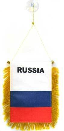 AZ FLAG Fanion Russie 15x10cm - Mini Drapeau Russe 10 x 15 cm spécial Voiture - Bannière