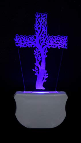 Zulka Get your traditions Christian Cross 3D Illusion Multicolor Acrylic Night Lamp...