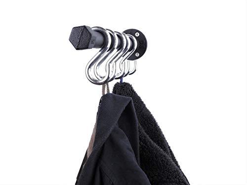 Garderobenleiste Schwarz Metall 32cm mit 5 Haken Hakenleiste Handtuchhalter mit Wandhaken im Industrial Design