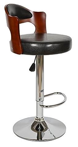 ts-ideen Design Club Tabouret de Bar Chaise de Bar Cuisine Salle à manger Siège Noir Bois Hauteur du siège 63-83 cm