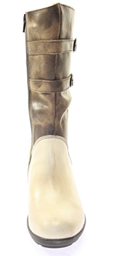 Tbs Forro Reßverschluss Couro Boots Marrom Bege De Genuína Lado Cor Mulheres Ankle qqxwC4F