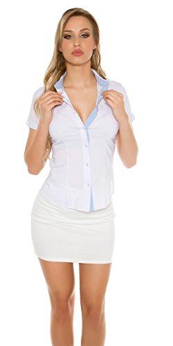Camicia donna avvitata cotone maniche corte business elegante nuova S,M,L,XL Bianco