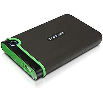 Transcend TS1TSJ25M3 StoreJet M3 Anti-Shock 1TB externe Anti-Shock Festplatte (6,4cm (2,5 Zoll), 5400 rpm, 8MB Cache, USB 3.0) grau-grün