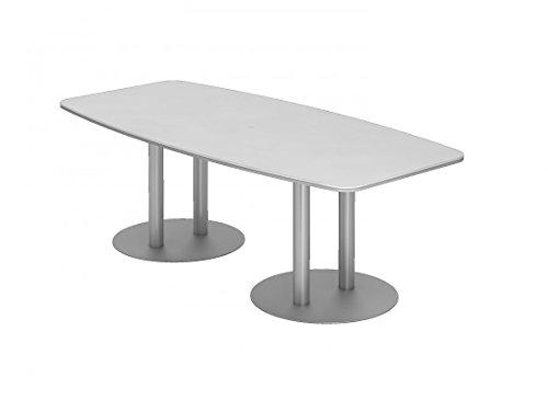 Besprechungstisch KT-Serie DR-Büro - Maße 220 x 103/83 cm - Tischsystem in 7 Farbvarianten - 2 Säulenfüße silber, rund - Meetingtisch Höhe...