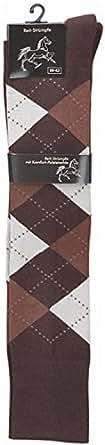 2 Paar Reit Kniestrümpfe für Kinder, Damen, Teenager und Herren mit Polstersohle Farbe Dunkelbraun/Beige Größe 31-34