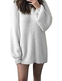 ❤️Robe Pull Femme Amlaiworld Mode Femmes Solide O-Neck Tricoté Lâche Chaud Pull Long à Manches Longues Chemisier Automne Hiver Chandails Robe