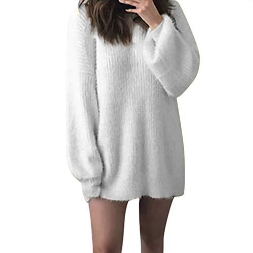 OSYARD Strickpullover Sweater Damen, Frauen Mode Solid O-Neck Pullover Kleid Lose Gestrickte Warme Lange Cardigan Sweatshirt Laterne Sleeve Freizeit Bluse Langarmshirt Kleidung (3XL, Weiß)