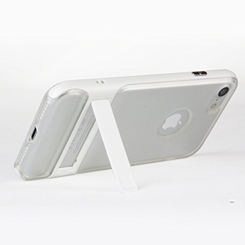 iPhone 7, iPhone 7, Trasparente Ultra Sottile Custodia Cover [Crystal Clear] KIO TPU trasparente Custodia in silicone Case con integrato Kick Stand per Apple Iphone 7 iPhone 7 bianco bianco