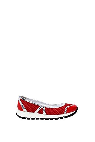 3F6157LACCA Prada Ballerine Femme Tissu Rouge Rouge