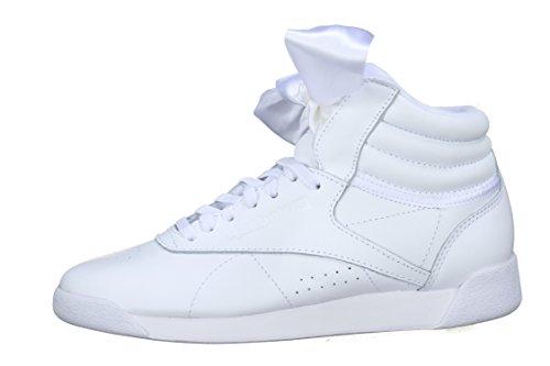Reebok Damen Freestyle Hi Satin Bow Gymnastikschuhe, Mehrfarbig (White/Skull Grey White/Skull Grey), 39 EU (Reebok Freestyle Hi)
