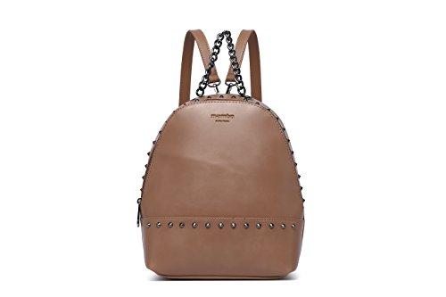 MAMBO DE OTROS MUNDOS mochilas mujer casual efecto piel color camel con tachuelas, mochilas de...