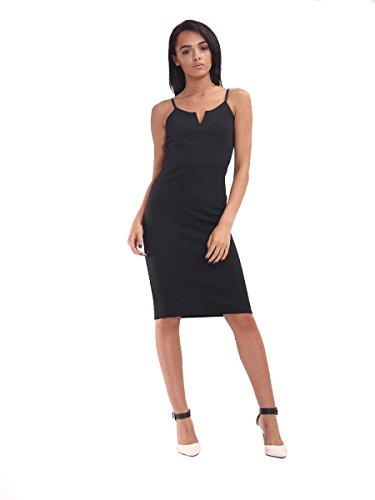 Ladies V -Cut Cami Robe moulante EUR Taille 36-42 Noir
