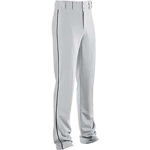Adult Piped Classic Double-knit Baseball Pant 315050-SILVER GREY/BLACK-M
