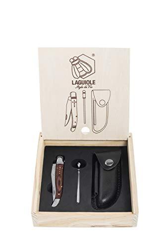 Laguiole Style de Vie Taschenmesser mit Wetzstahl & Ledertasche, Rosenholz, mit Geschenkbox Laguiole, Pocket