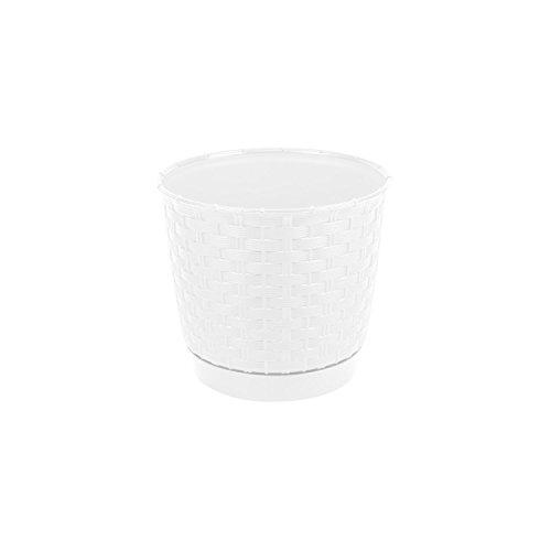Rond pot de fleur blanc 14 cm en plastique, soucoupe amovible
