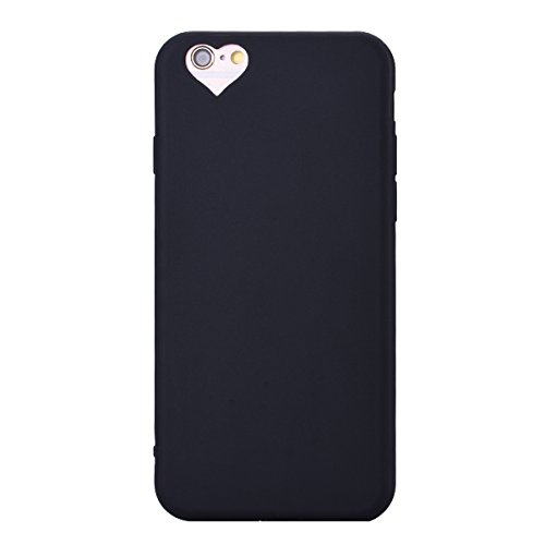 Custodia per Apple iPhone 6 / 6S ( 4.7 pollici ), HB-Int 3 in 1 Rosa Gomma TPU Gel Silicone Case Flessibile Morbido Shell Custodia Cuore Disegno Caso Ultra Sottile Leggera Copertura Anti Graffi Resist Nero
