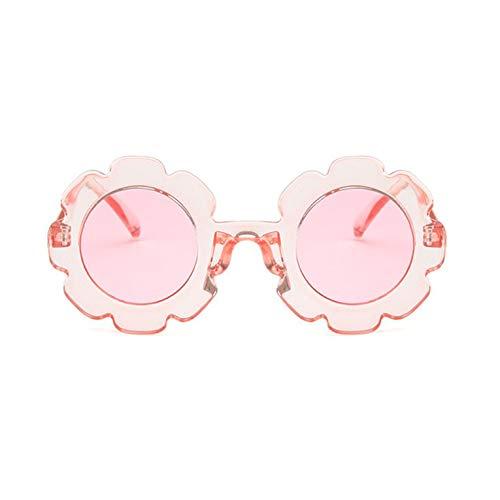 Sonnenblume Kinder Universal Anti-UV konkave Form personalisiert niedlich Harz und Pc exquisite Sonnenbrille - transparente Linse Frame Pink Le