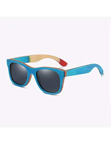 HNPYY Sonnenbrillen Holzsonnenbrille Blauer Rahmen Mit Beschichtung Verspiegelter Sonnenbrillen Aus Bambus, 2