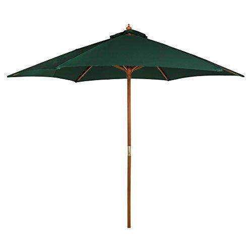 Aktive Garden Parasol Hexagonal con mástil de Madera de 38 mm, Verde, Diámetro 270 cm