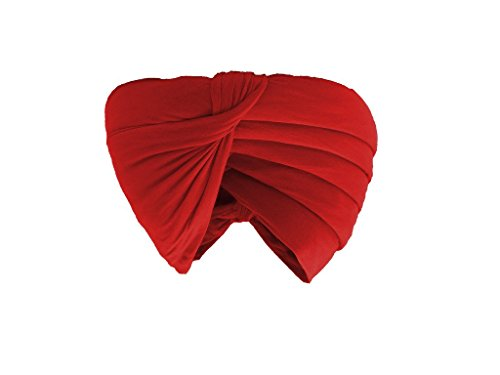 Gurdip Store Men's Stitched Casual 6 mtr Cotton Red Turban , 1 Piece