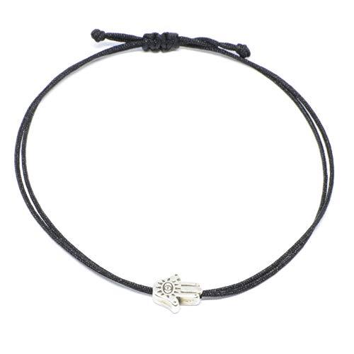 Pulsera de mano de Fátima, plata, protección de la mano/ojo, colgante de Hamsa y banda textil negra, amuleto de la suerte, pulsera hecha a mano y ajustable
