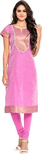 Twinkal Women's Chanderi Silk Straight Kurta / Kurti (TWKR0251_S, Pink, S)  available at amazon for Rs.690