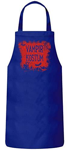 Vampir Kostüm Royal - ShirtStreet Halloween Fasching Karneval Gruppen Frauen Herren Barbecue Baumwoll Grillschürze Kochschürze Vampir Kostüm, Größe: OneSize,Royal Blau